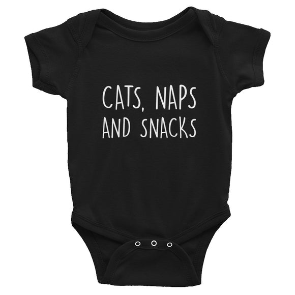 Baby Bodysuit, Baby Shower Gift, Cats Naps and Snacks, Eating, Snacking, Kitty Owner, Funny Gift, Funny Cat Gifts, Cat Lovers