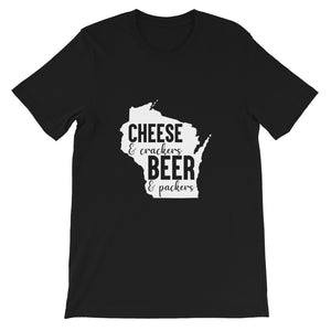 Cheese and Crackers Beer and Packers T-shirt, Wisco Pride, Wisconsin, Gift For Her, Workout, Popular, Woman, Cheese