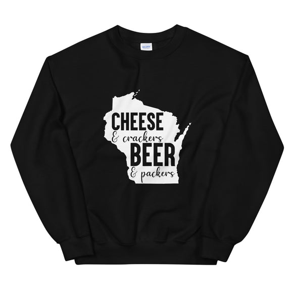 Cheese and Crackers Beer and Packers, Sweatshirt, Wisconsin, Workout, Popular, Wisco Pride, Gift For Her, Casual, Gift, Unisex