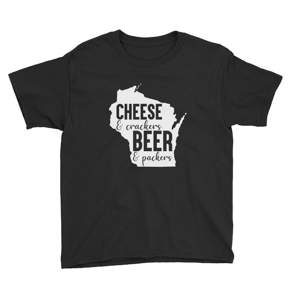 Cheese and Crackers Beer and Packers Youth T-shirt, Young Kids, Wisco Pride, Wisconsin, Casual, Gift For Her, Workout, Popular, Gift, Shirt
