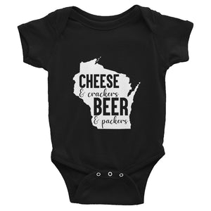 Baby Bodysuit, Baby Shower Gift, Cheese and Crackers Beer and Packers, Wisco Pride, Wisconsin, Casual, Gift For Her, Workout, Popular