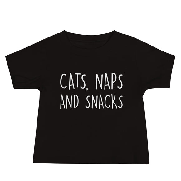 Baby T-shirt, Shower, Gift, Cats Naps and Snacks, Eating, Snacking, Kitty Owner, Funny Gift, Funny Cat Gifts, Cat Lovers