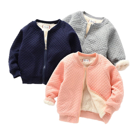 Clothes Kids Velvet Zipper Coats