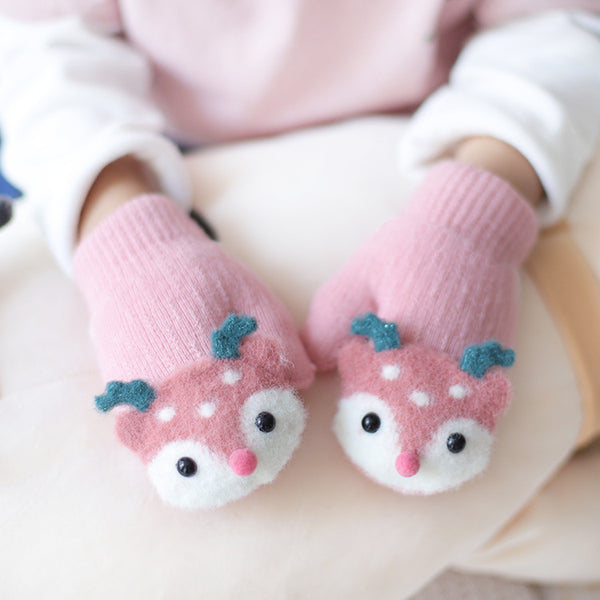 Baby Cute Deer Gloves Winter Knit