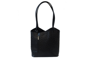 Transform Leather Ostrich Bag in Black. Made in Italy.