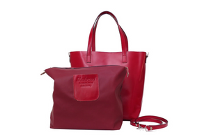 Genuine Leather Tote Bag in Red. Made in Italy. Shahrzad Boutique.