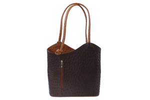 Transform Ostrich Bag in Brown. Made in Italy.