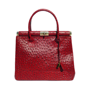 Ostrich Leather Handbag in Maroon. Made in Italy.