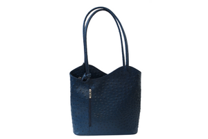 Transform Leather Ostrich Bag in Navy. Made in Italy.