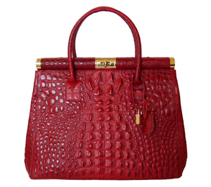 Crocodile embossed Genuine Leather Made in Italy in Red