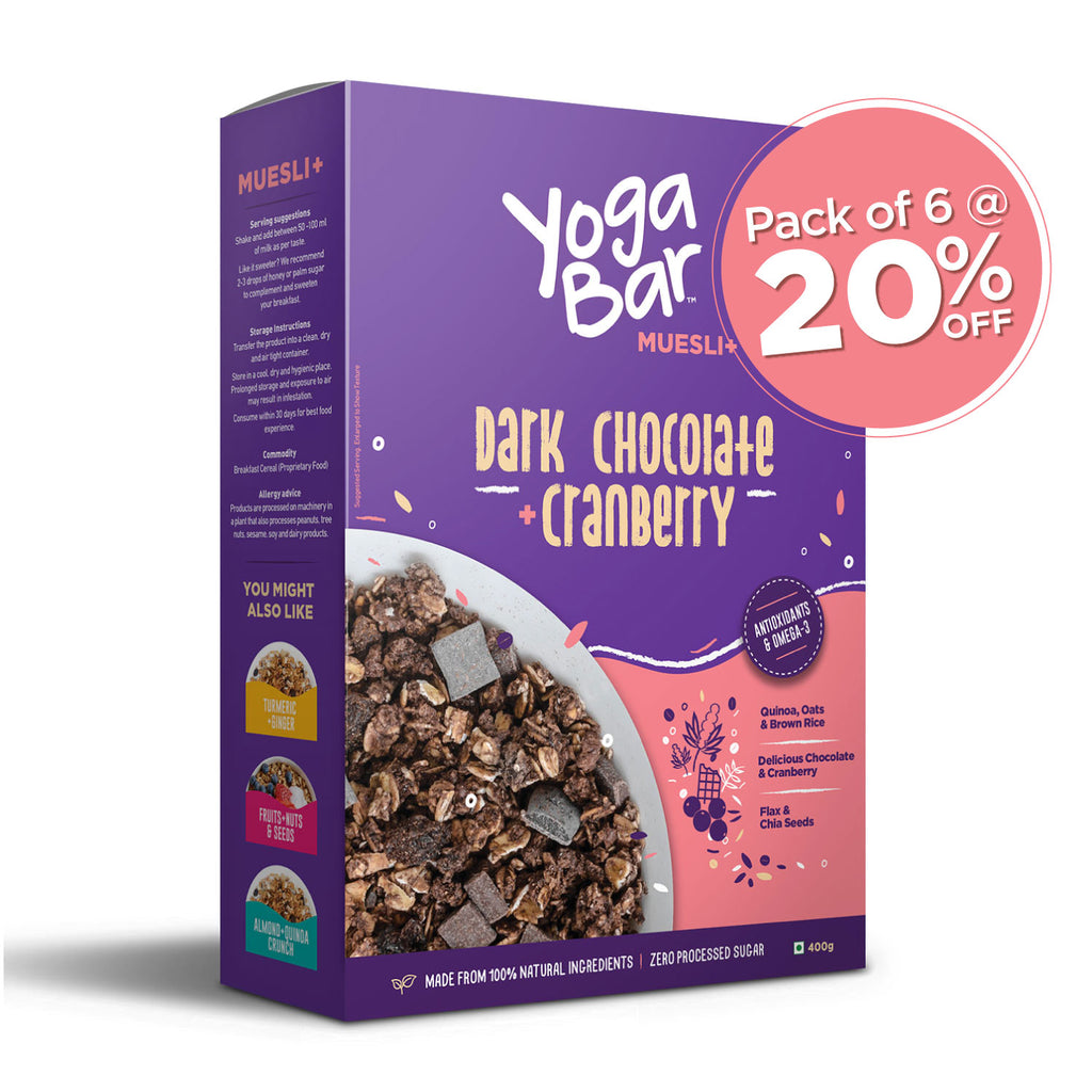 Dark Chocolate + Cranberries Wholegrain Muesli - 6 Boxes