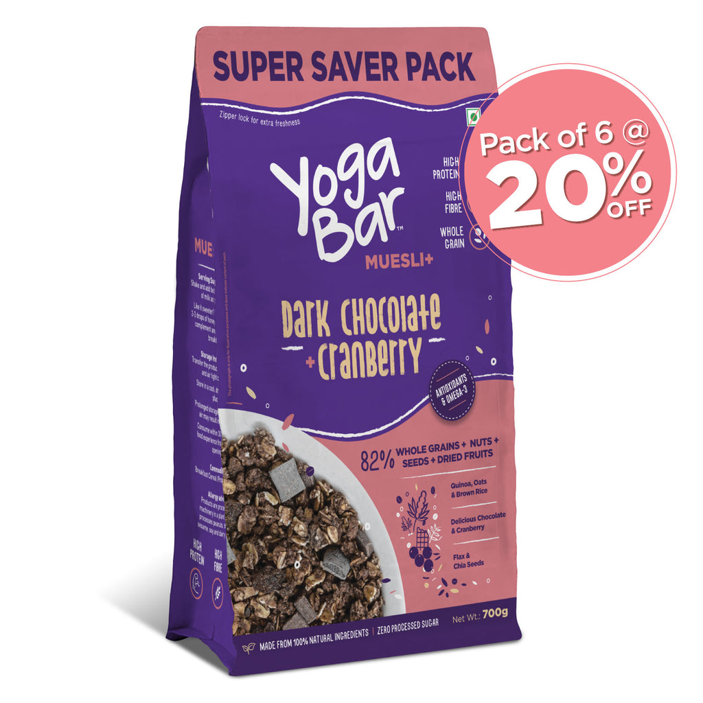 Dark Chocolate + Cranberries Wholegrain Muesli - 700g - 6 Packs