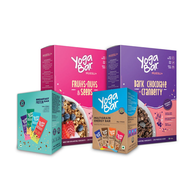 Yogabar Bars (Energy Variety + Breakfast Variety) + Muesli (Fruits & Nuts + Dark Chocolate ) Combo