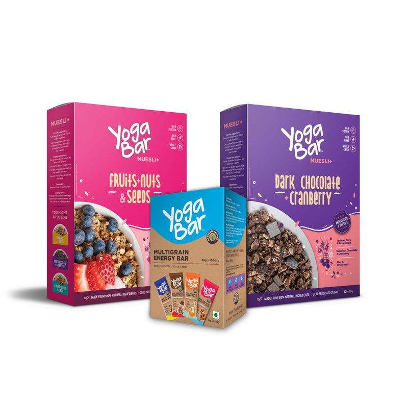 Yogabar Bars (Energy Variety) + Muesli (Fruits & Nuts + Dark Chocolate ) Combo
