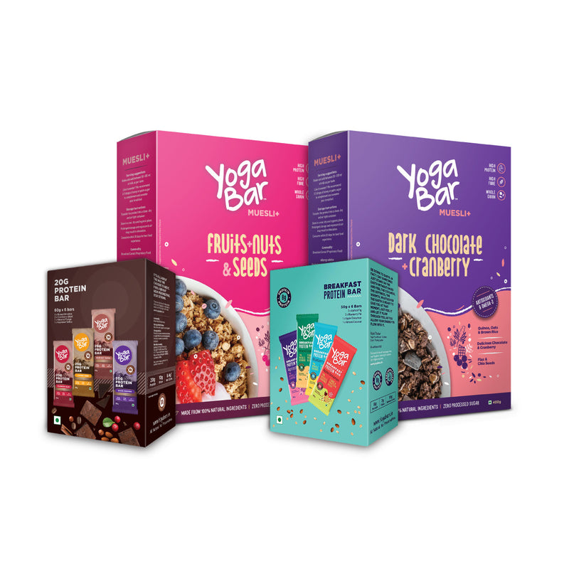 Yogabar Bars (Breakfast Variety + Protein Variety) + Muesli (Fruits & Nuts + Dark Chocolate ) Combo