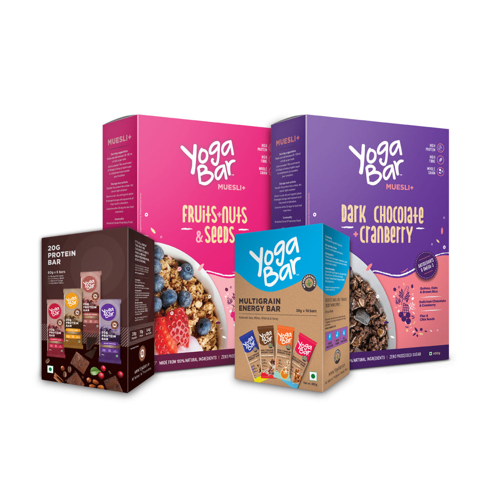 Yogabar Bars (Protein Variety + Energy Variety) + Muesli (Fruits & Nuts + Dark Chocolate ) Combo