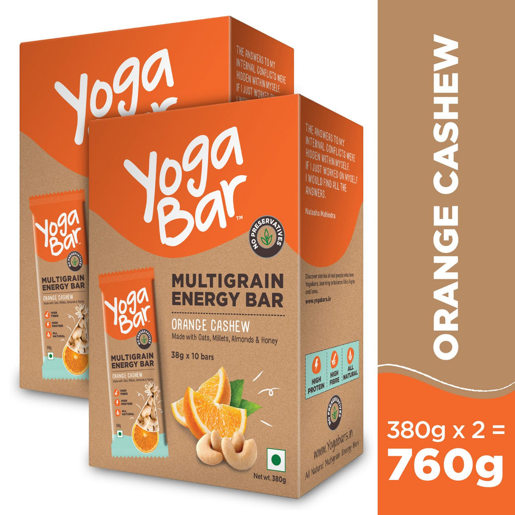 Orange Cashew Energy Bars - 2 Boxes