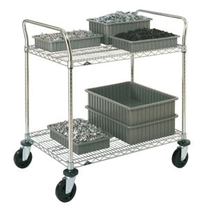 "Metro 2SPN55ABR Super Erecta Brite Two Shelf Heavy Duty Utility Cart with Rubber Casters - 24"" x 48"" x 39"""