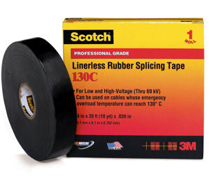 Scotch Linerless Rubber Splicing Tape 130C, 1 in x 30 ft
