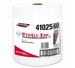 Kimberly-Clark Wypall X80 Premium Shop Towel Jumbo Roll - 475/cs White