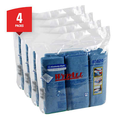 "Wypall 83620 Microfiber Cloths with MicroBan - 15.75"" x 15.75"" -  Blue - Sold as a case"