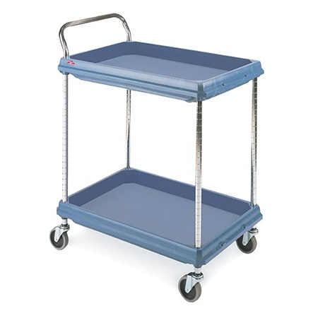 "Metro BC2030-2DMB Polymer Deep Ledge Utility Cart with Microban - 2-shelf - Slate Blue -  21-1/2"" x 32-3/4"" x 41""H"