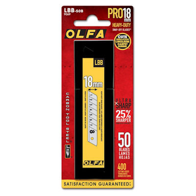 Olfa 9069 LBB-50B 18mm UltraMax Heavy Duty Black Blades, 50 Blades/pk