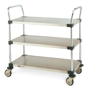 "Metro Wire 3-shelf Solid Stainless Steel Utility Cart (24"" x 36"") -MW208"