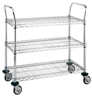 "Metro MW707 Chrome Utility Cart 21"" x 36"" with 3 Wire Shelves"