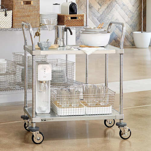 "Metro Commercial Solid Shelf Serving Cart 18"" x 30"" x 38-1/2""H"