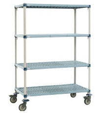 "MetroMax Q Stem Caster Cart - 4-shelf - 21"" x 36"" x 69""H"