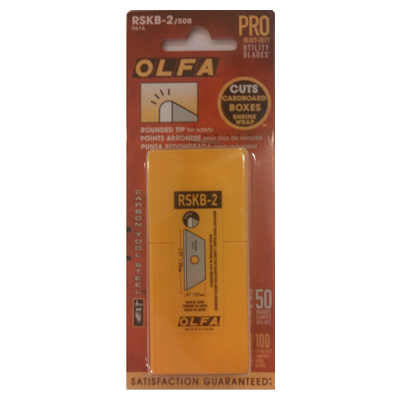 Olfa RSKB-2/50B Rounded Tip Safety Knife Blades, 50 Blades/Pk