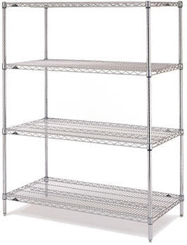 "Metro Super Erecta Chrome Wire Shelving Unit - 4 shelves - 14"" x 48"" x 74""H"