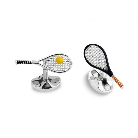 Sterling Silver Tennis Racket & Ball Cufflinks