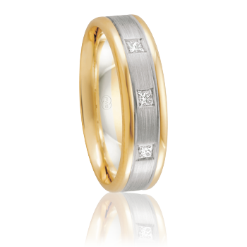 Mens 18ct Two-Tone Band with 3 Princess Cut Diamonds
