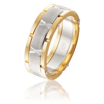 Mens 9ct Two-Tone 'X' Roman Numeral Band