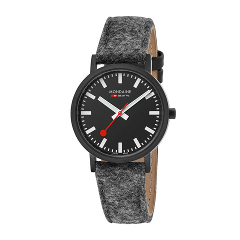Classic Mondaine Grey Felt-Like PET Recycled Strap, 18mm Band, 36mm Face
