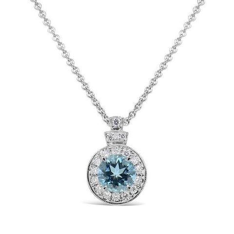 Aqua and diamond halo pendant by Imp Jewellery