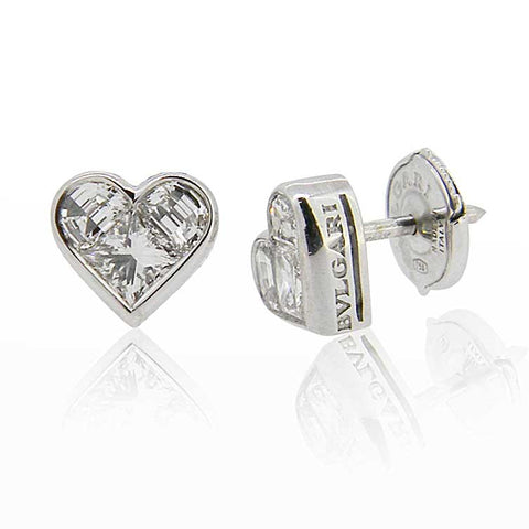 Bulgari White Gold 'Cuore' Diamond Stud Earrings