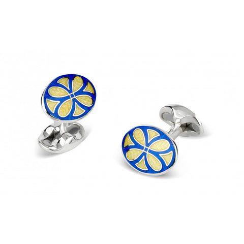 Deakin & Francis - Sterling Silver Blue & Yellow Fancy Pattern Enamel Cufflinks