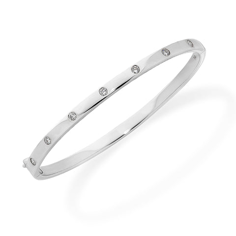 Solid White Gold Studded Diamond Oval Bangle