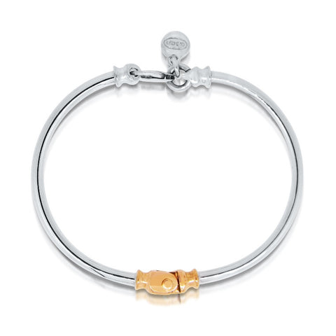 hinged sterling silver bangle bracelet with 9ct yellow gold accent, Dban