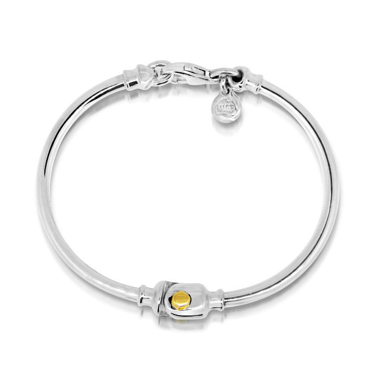 two piece Dban hinged bangle bracelet with 9ct yellow gold accent