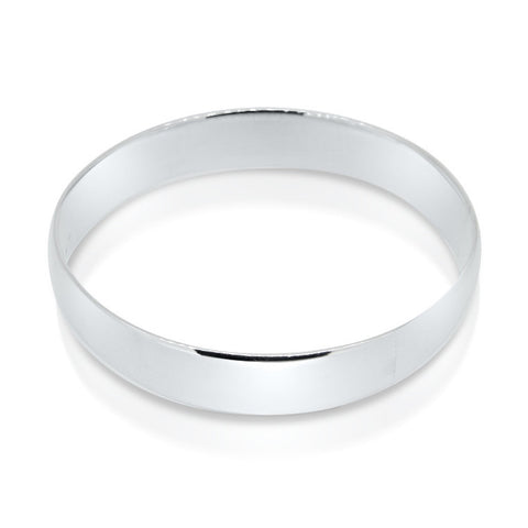 Sterling silver oval bangle   WPS06