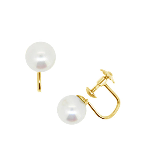 Screw back earrings, single white pearl with 9ct backing