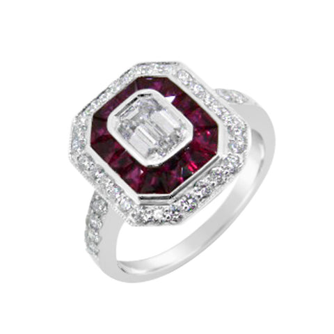 emerald cut diamond with ruby and diamond halo