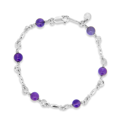 Sterling silver and amethyst bracelet WPS09