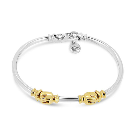 Sterling silver and 9kt double hinged bangle   WPS11