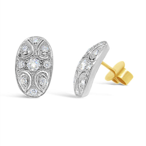 L'Ovale Petite Diamond Stud Earrings   P.4635