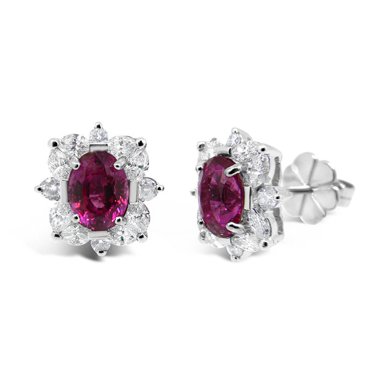 Pink sapphire and diamond cluster earrings   WPE38